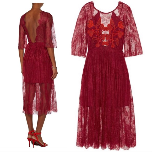 Sandro Shanghai Open Back Embroidered Dress Nwt
